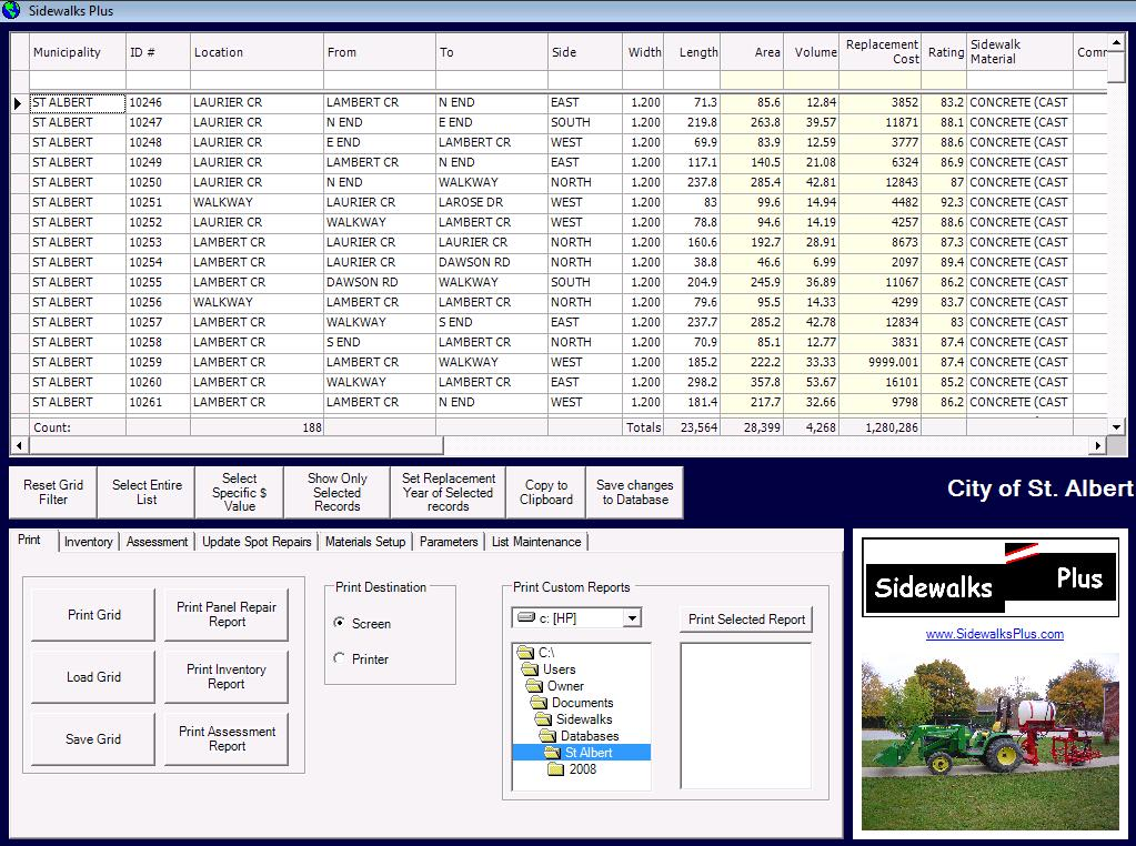 Typical screenshot of Sidewalk Management Software